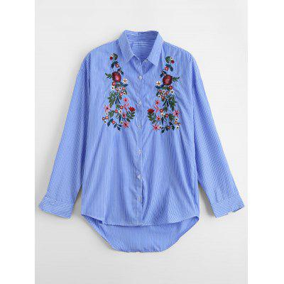 Buy STRIPE L High Low Floral Embroidered Button Down Shirt for $25.78 in GearBest store