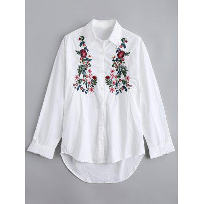 High Low Floral Embroidery Button Down Shirt