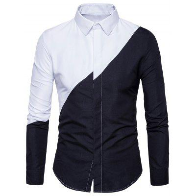 Buy BLACK Long Sleeve Two Tone Irregular Panel Shirt for $20.92 in GearBest store
