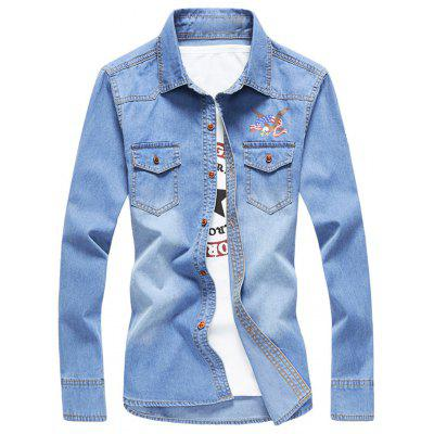 Buy LIGHT BLUE Two Button Chest Pockets Embroidery Denim Shirt for $26.66 in GearBest store