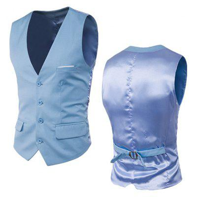 Single Breasted Satin Panel Belted Waistcoat