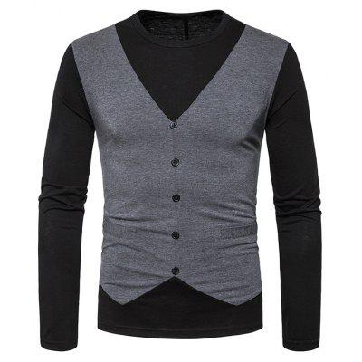 Buy DEEP GRAY Faux Twinset Buttons Long Sleeve T-shirt for $20.92 in GearBest store