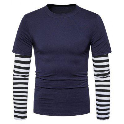 Buy CADETBLUE 2XL Faux Twinset Stripe Panel Long Sleeve T-shirt for $20.92 in GearBest store