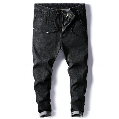 Buy BLACK 40 Drawstring Zipper Fly Low Slung Crotch Harem Jeans for $35.29 in GearBest store