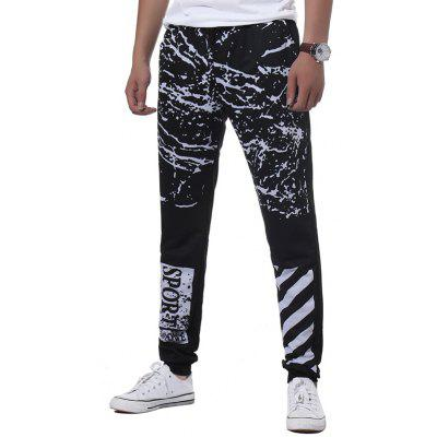 Buy BLACK XL Drawstring Splatter Paint Stripe Graphic Print Jogger Pants for $19.98 in GearBest store