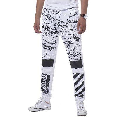 Buy WHITE XL Drawstring Splatter Paint Stripe Graphic Print Jogger Pants for $19.98 in GearBest store