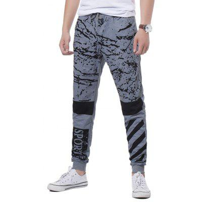 Buy LIGHT GRAY 2XL Drawstring Splatter Paint Stripe Graphic Print Jogger Pants for $19.98 in GearBest store