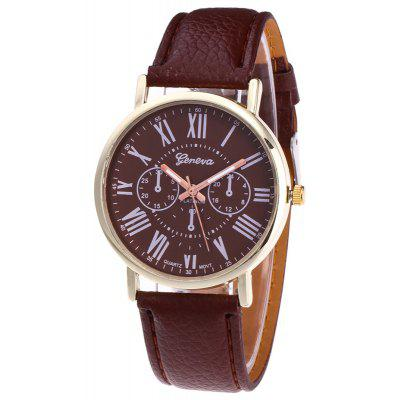 Buy BROWN Faux Leather Strap Roman Numeral Round Watch for $5.71 in GearBest store