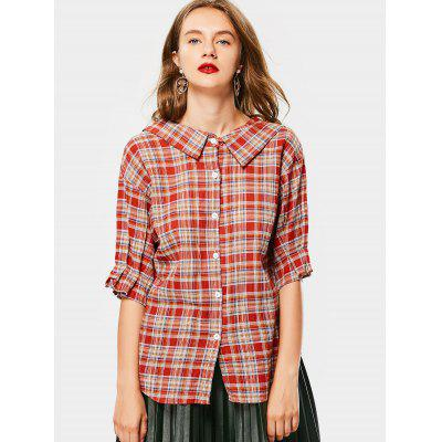Buy CHECKED L Button Up Flat Collar Checked Blouse for $20.68 in GearBest store