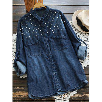 Buy DEEP BLUE Beaded Embellished Denim Shirt with Pockets for $32.01 in GearBest store