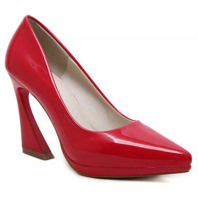 Chunky Heel Pointed Toe Pumps