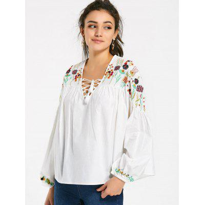 Lace Up Embroidered Lantern Sleeve Blouse