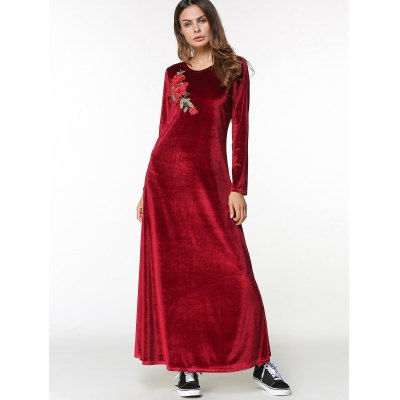 Velvet Maxi Long Sleeve Dress with Applique