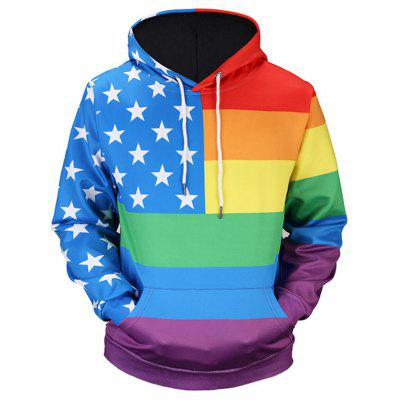 Kangaroo Pocket Star Rainbow Stripe Hoodie