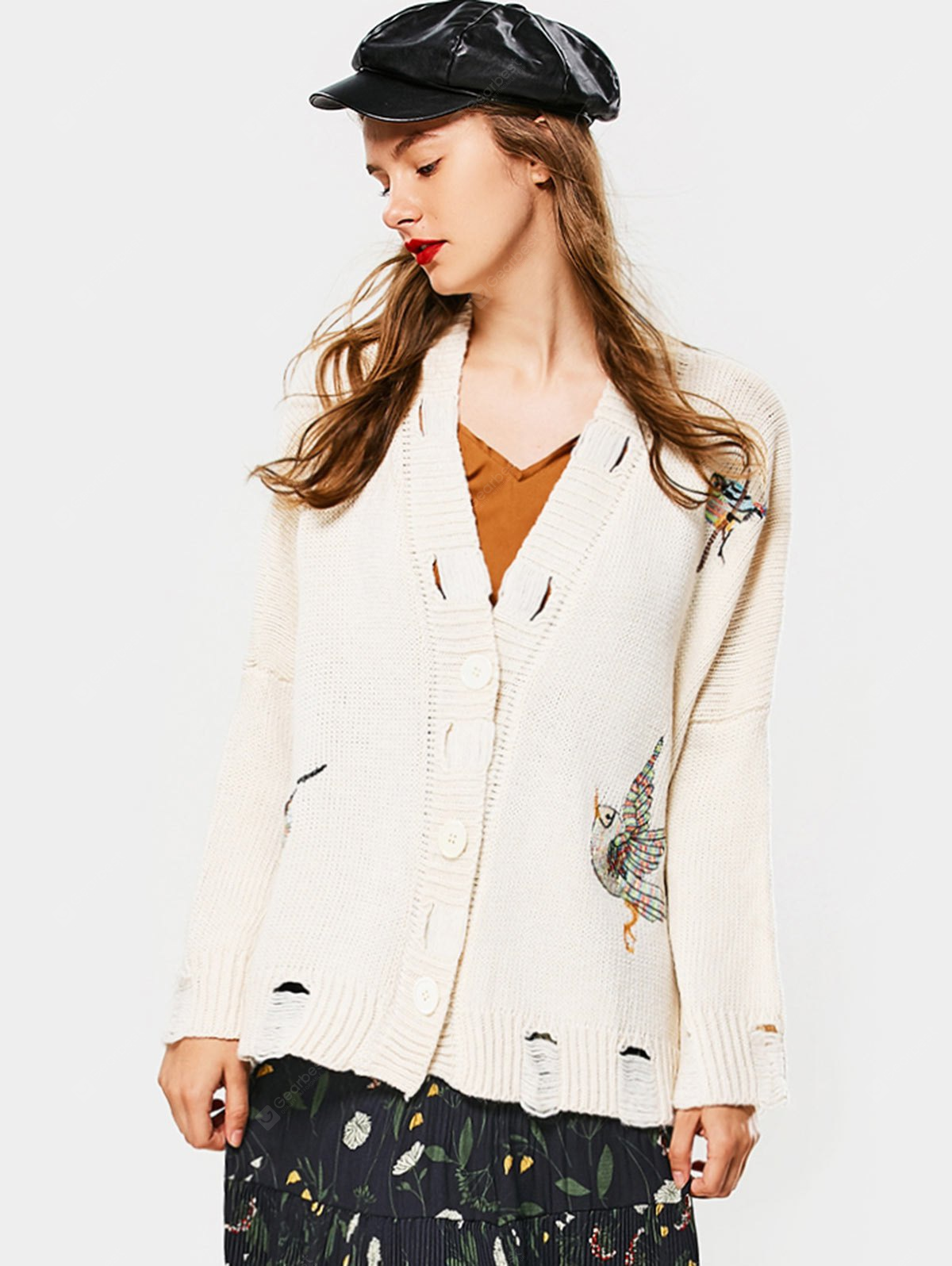 Embroidered Button Up Ripped Cardigan