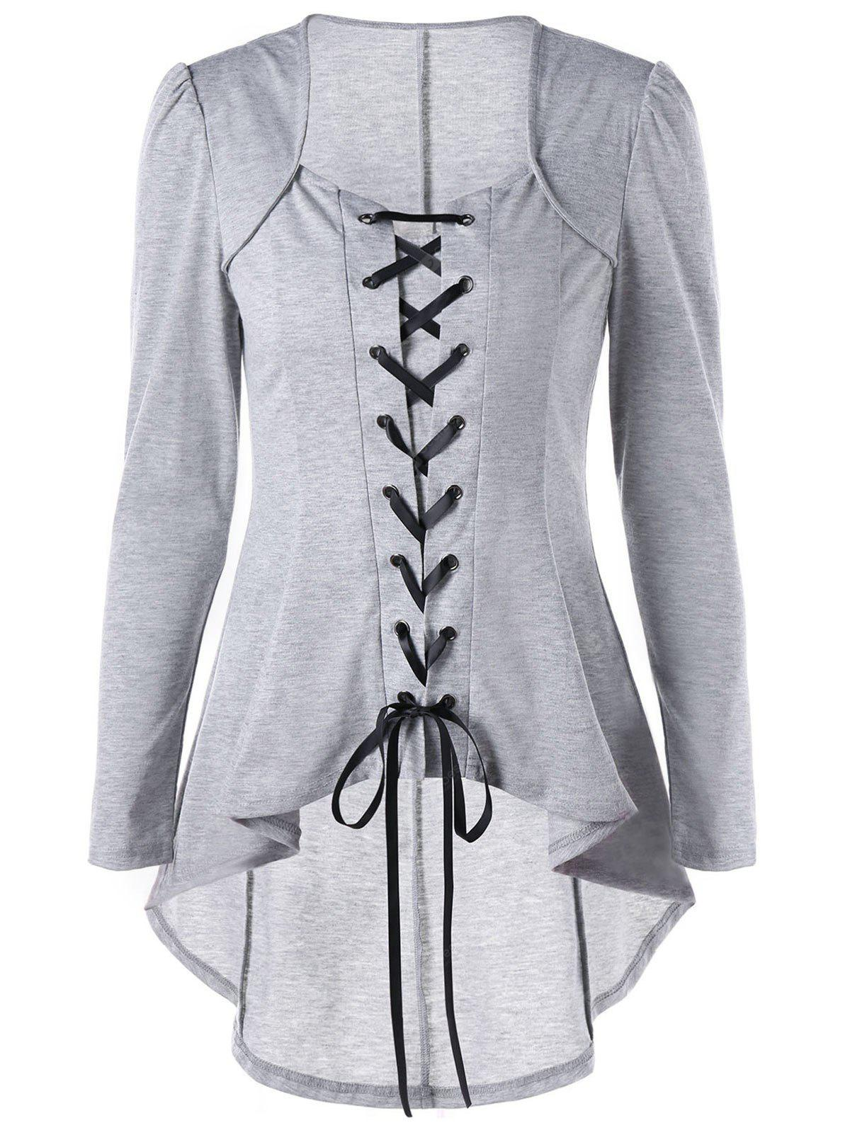 Lace Up High Low Gothic Top