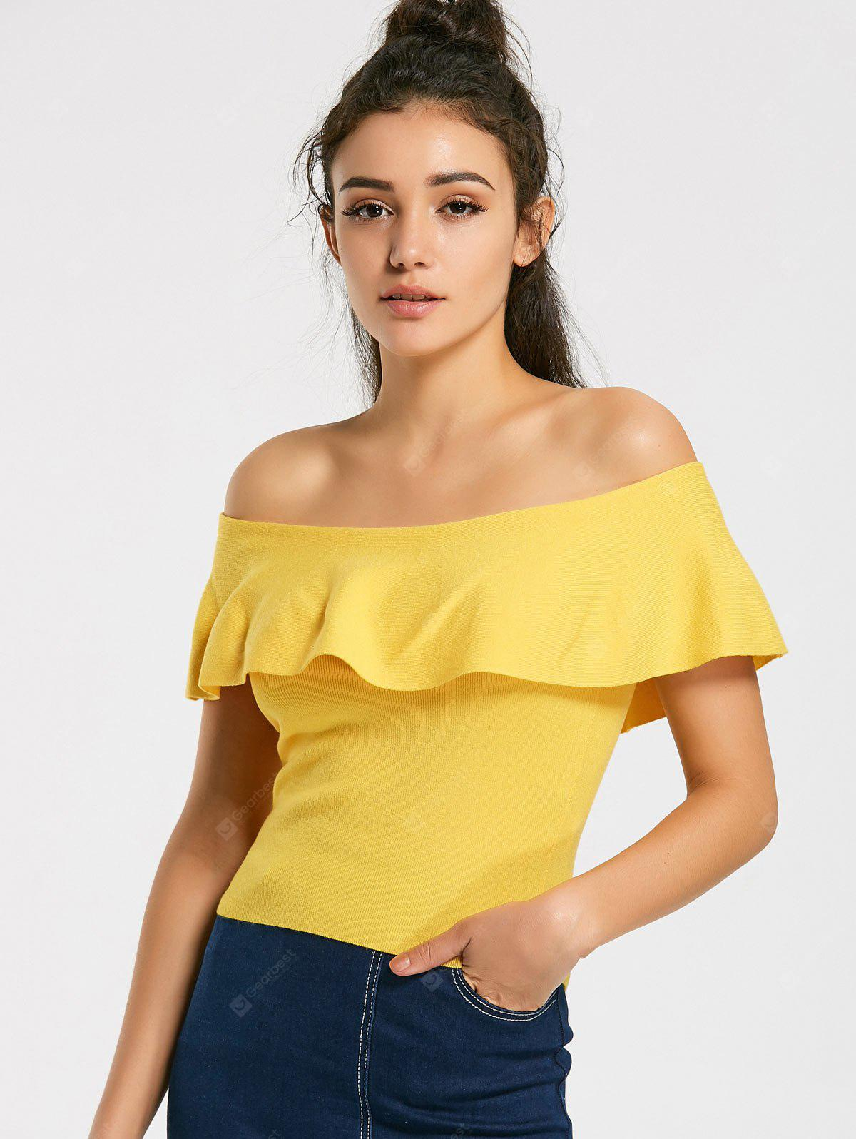 Off Shoulder Overlap Knitted Top
