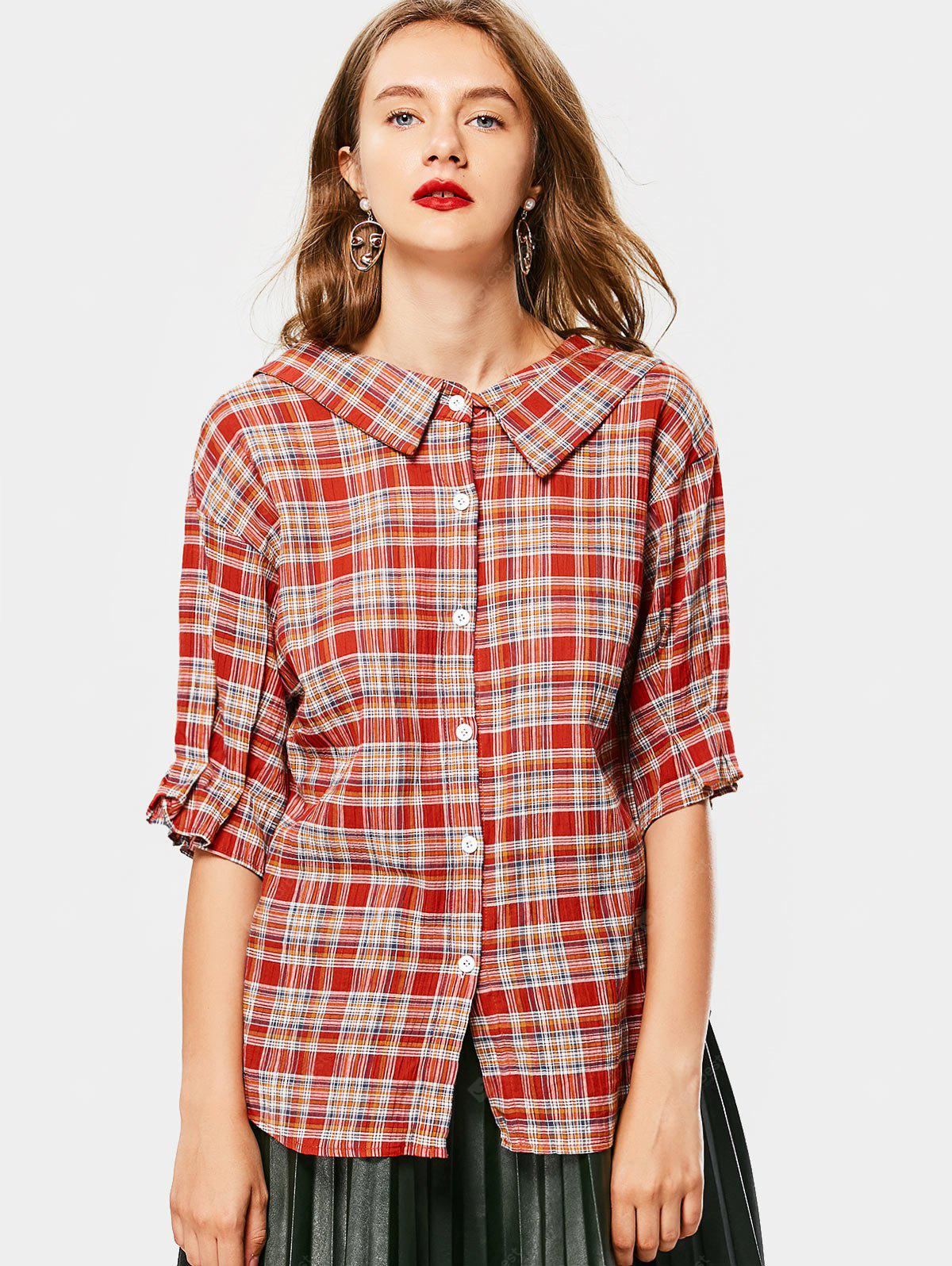 CHECKED M Button Up Flat Collar Checked Blouse