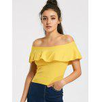 Off Shoulder Overlap Knitted Top - YELLOW