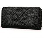 Quilted Faux Leather Clutch Wallet - BLACK