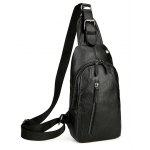 Headphone Hole Faux Leather Chest Bag - BLACK