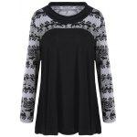 Plus Size Floral Print Heaps Collar T-shirt - COLORMIX