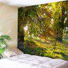 Forest Scenery Print Tree Wall Tapestry - YELLOW GREEN
