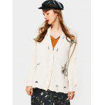 Embroidered Button Up Ripped Cardigan - BEIGE