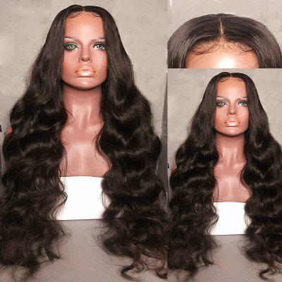 Long Center Parting Bouffant Body Wave Synthetic Lace Front Wig