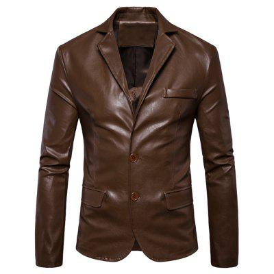 Single Breasted Lapel Faux Leather Blazer