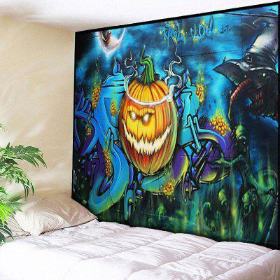 Buy BLUE Halloween Wall Hanging Pumpkin Tapestry for $14.81 in GearBest store