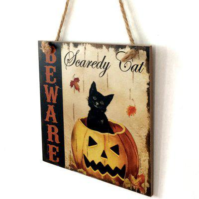 Buy COLORMIX Halloween Pumpkin Cat Pattern Door Decor Wooden Hanging Sign for $6.80 in GearBest store