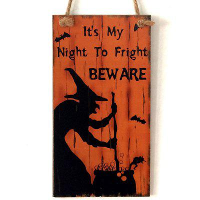 Buy ORANGE RED Halloween Witch Pattern Wall Decor Wooden Hanging Sign for $5.43 in GearBest store