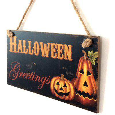 Buy BLACK Halloween Pumpkin Pattern Wall Decor Wooden Hanging Sign for $5.43 in GearBest store