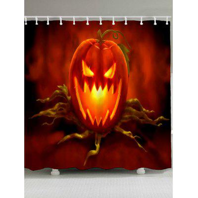 Buy ORANGE RED Jack O Lantern Waterproof Halloween Shower Curtain for $20.95 in GearBest store
