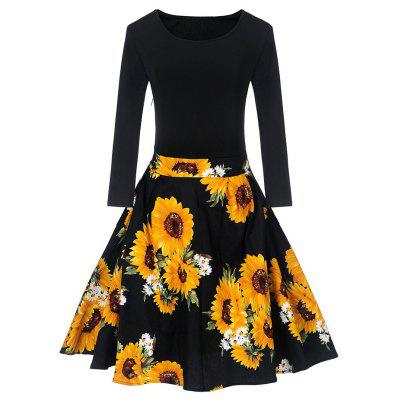 Buy BLACK L Vintage Sunflower Print Fit and Flare Dress for $23.61 in GearBest store