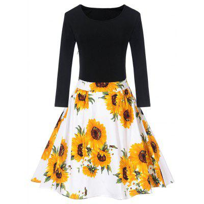 Buy WHITE L Vintage Sunflower Print Fit and Flare Dress for $23.61 in GearBest store
