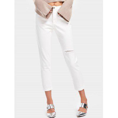 Buy WHITE S Distressed High Waisted Pencil Jeans for $31.51 in GearBest store