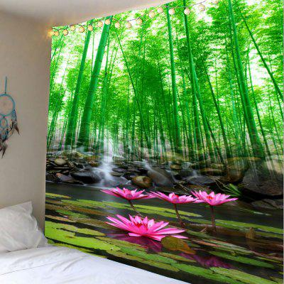 Lotus Pond Bamboo Grove Wall Art Tapestry