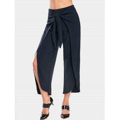 Buy PURPLISH BLUE M Bowknot High Slit Wide Leg Pants for $27.41 in GearBest store