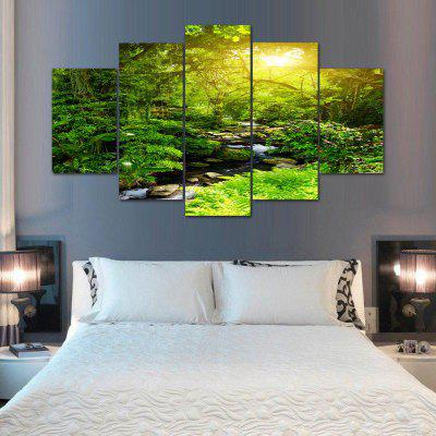 Buy GREEN Forest Stream Print Unframed Canvas Split Paintings for $18.20 in GearBest store
