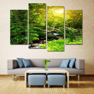 Buy GREEN Forest Stream Print Unframed Canvas Split Paintings for $18.73 in GearBest store