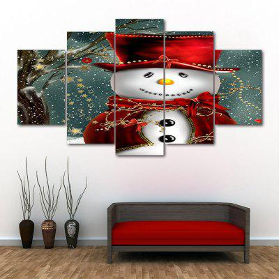 Christmas Snowman In Hat Print Canvas Unframed Split Paintings
