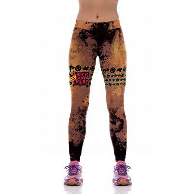 Buy COLORMIX L Pumpkin Ghost Halloween Leggings for $16.38 in GearBest store