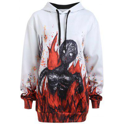 Plus Dimensione Halloween Skeleton in Hoodie Fuoco