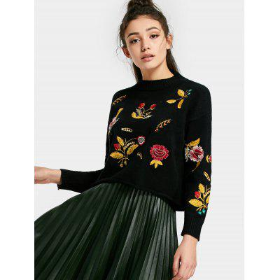 Drop Shoulder Floral Patched Sweater