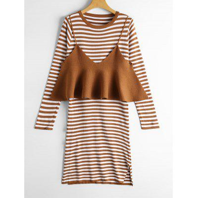 Buy YELLOW Stripes Long Sleeve Sweater Dress with Knitted Tank Top for $31.40 in GearBest store