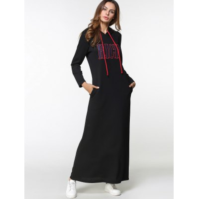 Drawstring Letter Embroidered Maxi Hoodie Dress