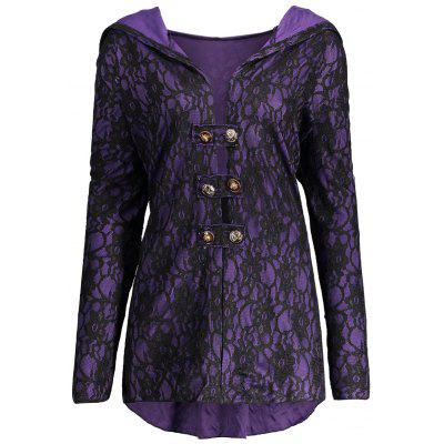 Lace-up Plus Size Hooded Lace Coat