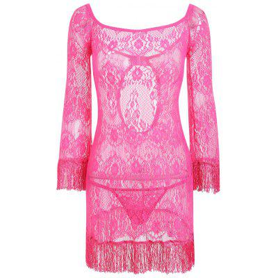 Lace Sheer Backless Babydoll with Fringes